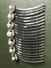 Large Silver Tone Diamante and Pearl Hair Comb Adornment - Chignon Bun
