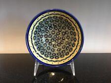 Vintage Handmade Poland Unikat Pottery Bowl Blue And Yellow Signed Amia Wilk