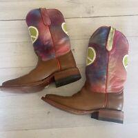 Ferrini Women's Sz 6.5 Cowboy Boots Hippie Retro Peace Sign Tiedye