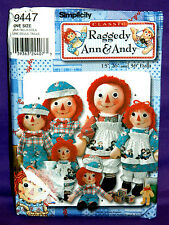 "Uncut Simplicity Raggedy Ann & Andy 15"", 26"" & 36"" Dolls w/Clothes Pattern 9447"