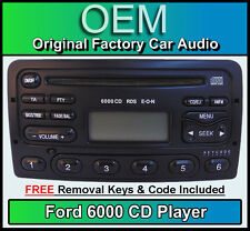 Ford Focus CD player radio, Black Ford 6000 car stereo + removal keys & code