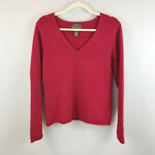 Fenn Wright Manson Wool Angora Sweater Medium V-Neck Pullover Holiday Red