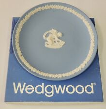 "Wedgwood England Blue Jasper Ware 6 1/2"" Cupid Coupe Plate With Box Euc"
