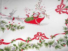 Vintage CHRISTMAS HOLIDAY SANTA Reindeer Sleigh Holly Cotton TABLECLOTH 61 x 52