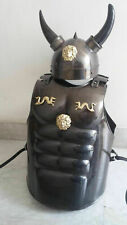 MUSCLE JACKET & Viking Helmet With Horns Cuirass Medieval Steel & Leather Strap