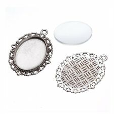 1 Sets Tibetan Alloy Pendant Setting Bezel Bases Silver Bronze & 18x25mm Covers