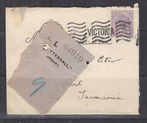 VICTORIA, 1907 Tatt's cover with Label attached, 2d., Melbourne cds.