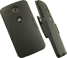 BLACK RUBBERIZED HARD CASE + BELT CLIP HOLSTER STAND FOR GOOGLE MOTOROLA NEXUS 6