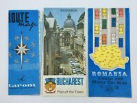 Vintage Lot Romania Maps Tarom Romanian Airlines Route Bucharest Street Tourist