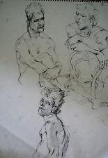 DESSIN-MINE DE PLOMB-ETUDE-MANIERISTE-NU-FEMME-ACADEMIQUE-ATELIER-12/19-HOMME-