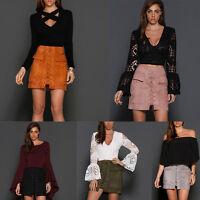 Ladies Winter Zipper Leather Lace Up Suede Short Skirt Cross High Waist Skirts