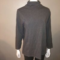 Catherines Turtleneck Top Size 0X 14-16W Womens Gray Stretch Knit Tee Suprima
