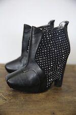 Sam Edelman Zoyla Black Leather Studded Platform Wedge High Heel Ankle Boot 8 M