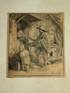 Adriaen VAN OSTADE 1610-1685 GRAVURE ORIGINALE VENDEUR METIER HOLLANDE 1660 H29