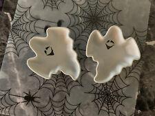 Set Of 2 Ghost Shaped Baking Ramekins Ceramic Halloween Nwt
