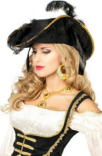 Deluxe Seebraut Piratenhut schwarz NEU - Karneval Fasching Hut Mütze Kopfbedecku