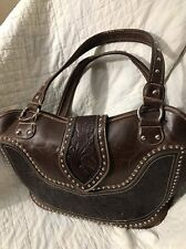 Montana West Tooled Leather Western Handbag, Dark Brown/Coffee