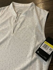 New W/ Logo Womens Nike Sleeveless Polo Small S White MSRP $65 AV3687-133