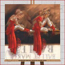 Ballet Dancer Modern Framed Wall Art Box Canvas Print Picture Dance Red Brown