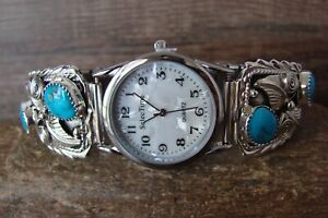 Navajo Indian Jewelry Sterling Silver Turquoise Watch - Thomas Yazzie