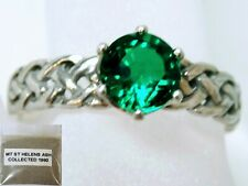 GREEN HELENITE 925 STERLING SILVER BRAID RING SIZE 9.5 plus 1980 VOLCANIC ASH