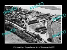 OLD LARGE HISTORIC PHOTO OF WIVENHOE ESSEX ENGLAND, VIEW OF THE SHIP YARDS c1950