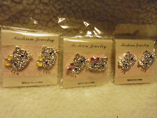"""FASHION """"MISS KITTY"""" SILVER TONE EARRINGS..CHOOSE FROM PINK, WHITE OR YELLOW BOW"""