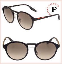 PRADA LINEA ROSSA Sport Rubber Brown Havana 01S Gradient Round Sunglasses PS01SS