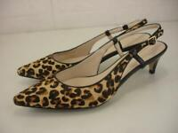 Women's 7 B M Cole Haan Juliana Leopard Hair Slingback Shoes Pumps Kitten Heels