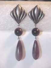 Long Pierced Earrings Silver & Lavender Marbled Beads
