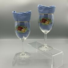 Old Country Roses Set of Two 12 ounce Water Goblets Royal Albert Wine Goblets