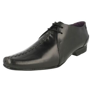 MENS RED10B PSL BLACK LEATHER SMART FORMAL WORK STITCHED DETAIL LACE UP SHOES