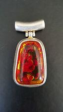 Rhodium, Amber Style, Lucite Pendant