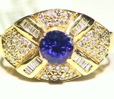 1.65CT 14K Gold Natural Tanzanite Diamond Vintage AAA Antique Engagement Ring