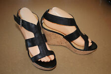 Nine West Shoes Women's 7.5 M Stappy High Heels Black Leather Sandal Cork Wedge