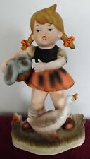 "Vintage Collector's Choice Series Flambro Exclusive 8.5"" Girl w. Duck & Basket"