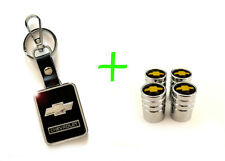 2 in 1 Combo CHEVROLET CHEVY Stainless Steel Valves / Leather Black Key Chain