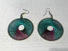 HANDCRAFTED THREAD EARRINGS  ROUND   PURPLE/TURQUOISE 2IN/5CM