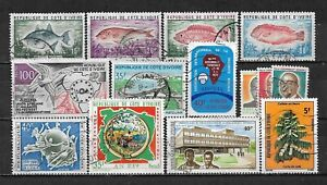 IVORY COAST, 14 VARIOUS,  USED