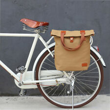 Tourbon Bag Bicycle Bike Rear Seat Carrier Pannier Brown Cycling Vintage Canvas