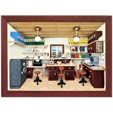 German 3D Wooden Shadow Box Picture Diorama Old Fasioned Business Office Büro