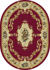 5x7 Laguna Red Traditional Border 4610 Area Rug - Approx 5'3'' x 7'3'' Oval