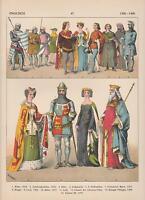 Englische Mode 1300-1400 Trachten Ritter Lady König LITHOGRAPHIE von 1882