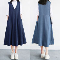 UK 8-24 Women Summer Sleeveless Denim Jeans Look A-Line Swing Long Shirt Dress