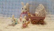 ADORABLE CALICO CRITTERS BUNNIES, STROLLER, ACCESSORIE