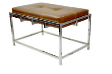 Indian Handmade Designer Tan Leather with Stainless Steel Base Stylish Bench