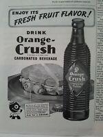 1945 drink Orange Crush carbonated soda ribbed bottle vintage ad