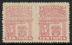 CUNDINAMARCA. 1904. 3c Rose. Imperf Vertically Between Pair. SG: 24 var. MLH.