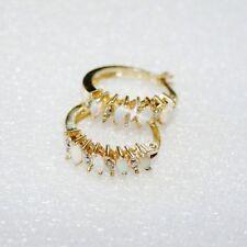 Created Marquise Opal Genuine Diamond Hoop Earrings Yellow 14k Gold over 925 SS