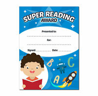 16 A6 Student Award Certificates Reading Teacher Achievement Reward Card Pack
